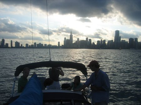 Chicago from the water, sun setting