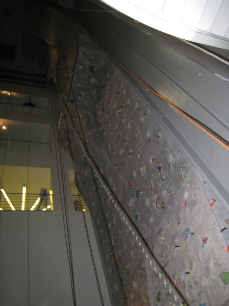 The climbing wall at Lakeshore Athletic Club where I work