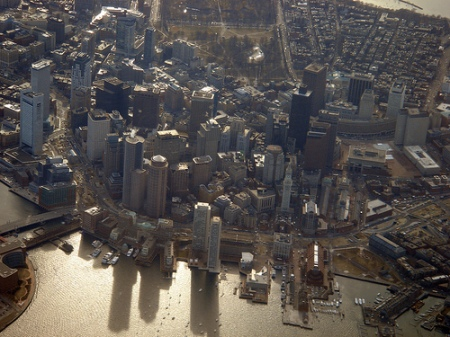 Flying into Boston