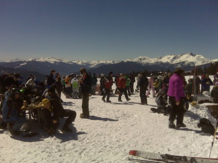 View from Blue Sky basin in mid March, 2009, lots of folks grilling and enjoying