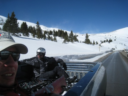 Hitchiking up Loveland Pass after an embarassing attempt at snowboarding