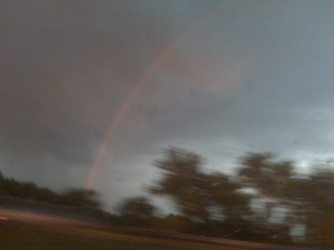 June rainbow in Southern Illinois from the car